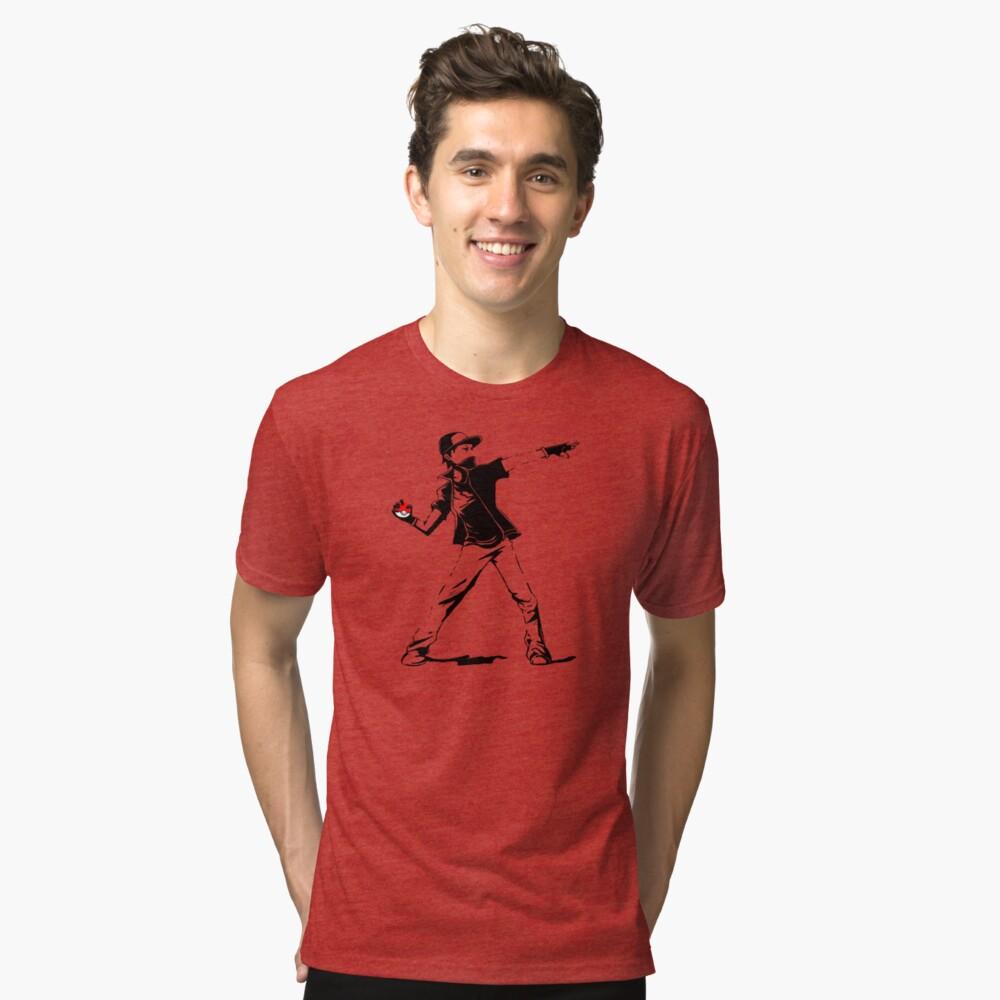 Banksy Pokemon Tri-blend T-Shirt Front