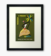Vintage Trinidad and Tobago Caribbean woman travel advert Framed Print