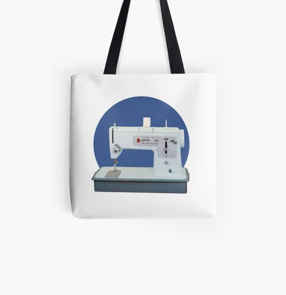Vintage Sewing Machine Retro Blue All Over Print Tote Bag