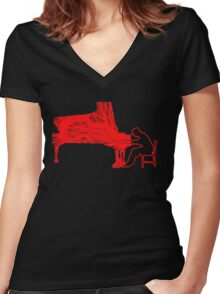 Gleen Gould's handmade exclusive design by InspiringPeople Women's Fitted V-Neck T-Shirt