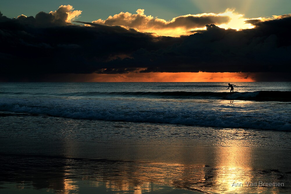 Catching a Wave at Sunrise (View Large) by Ann  Van Breemen