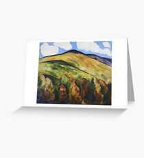 Marsden Hartley - Mountains No. 22. Mountains landscape: mountains, rocks, rocky nature, sky and clouds, trees, peak, forest, rustic, hill, travel, hillside Greeting Card