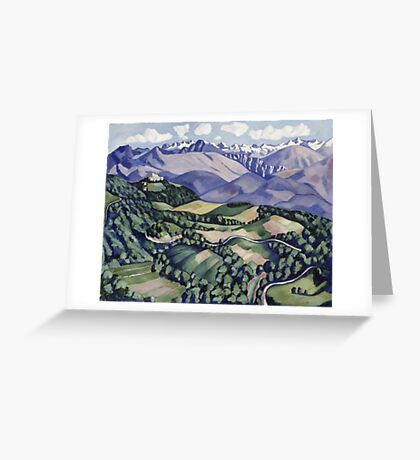 Marsden Hartley - Purple Mountains, Vence. Mountains landscape: mountains, rocks, rocky nature, sky and clouds, trees, peak, forest, Purple Mountains, hill, travel, hillside Greeting Card