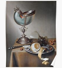 Marten Boelema De Stomme - Still-Life With Nautilus Cup . Still life with fruits and vegetables: Nautilus Cup , lemon, knife, gastronomy food, nuts, dish, glass, kitchen, vase Poster