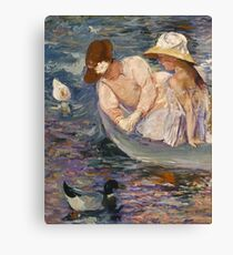 Mary Cassatt - Summertime. Mother with kid portrait: cute girl, mother and daughter, lake, boat, ducks, beautiful dress, lovely family, mothers day, memory, mom mum mammy mam, baby Canvas Print