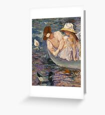 Mary Cassatt - Summertime. Mother with kid portrait: cute girl, mother and daughter, lake, boat, ducks, beautiful dress, lovely family, mothers day, memory, mom mum mammy mam, baby Greeting Card