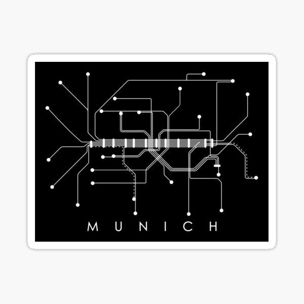 Munich Subway Map - Monochromatic - White on Black Sticker