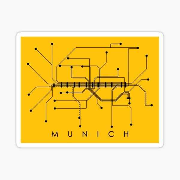 Munich Subway Map Monochromatic - Honey Yellow with Black Print Sticker