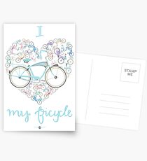 I Love my Bicycle Print Postcards