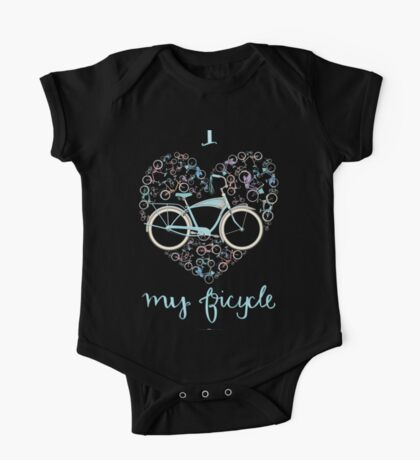 I Love my Bicycle Print Kids Clothes