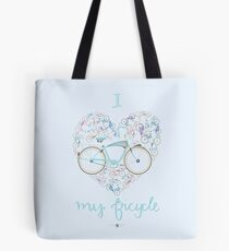 I Love my Bicycle Print Tote Bag
