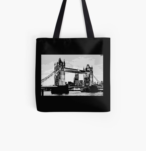 Tower bridge black & white retro All Over Print Tote Bag