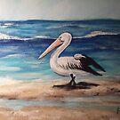 PELICAN ON BEACH by Pamela Plante