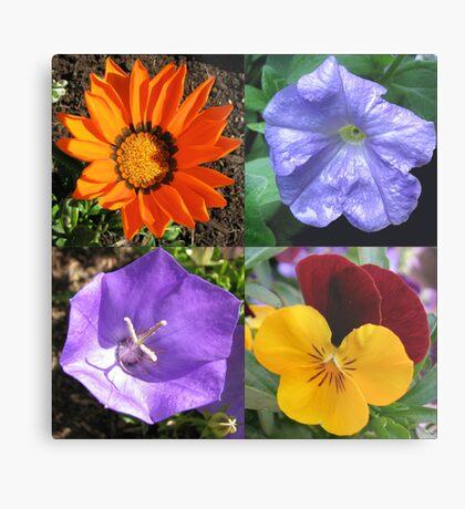 Quartett Sommer Blumen Collage Metallbild