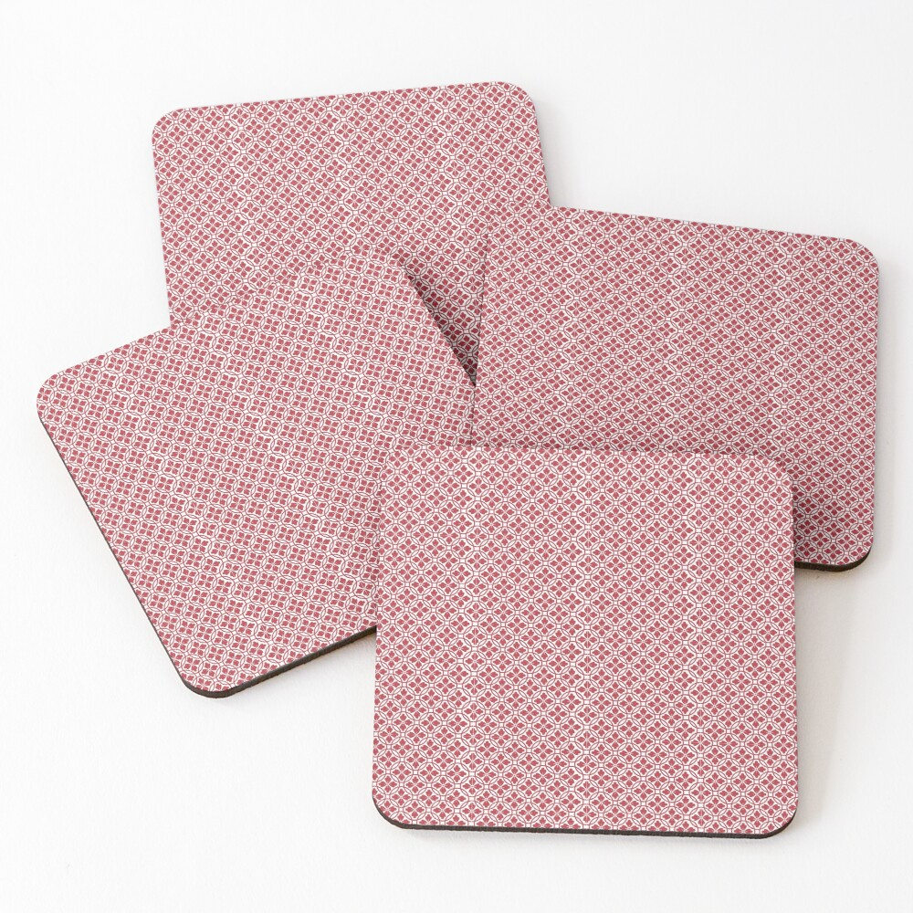 Red Pattern Coasters (Set of 4)