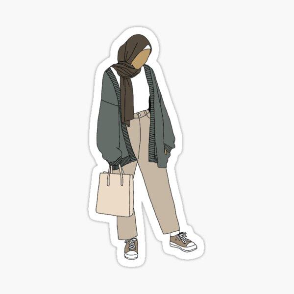 Hijabi girl in green cardigan Sticker