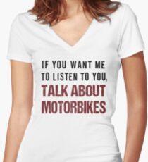 Rude Motorbike Shirt Women's Fitted V-Neck T-Shirt