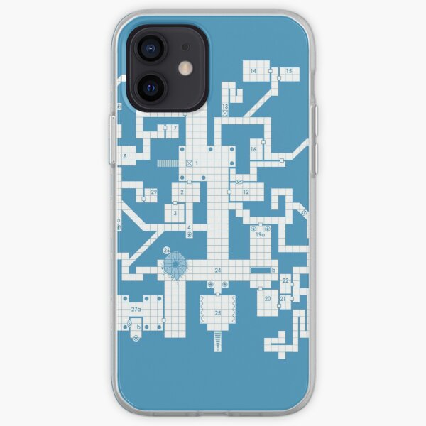 Old School Blue Dungeon Map iPhone Soft Case