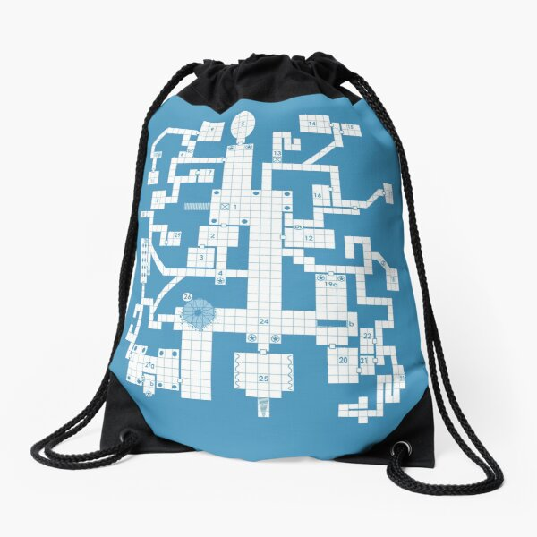 Old School Blue Dungeon Map Drawstring Bag