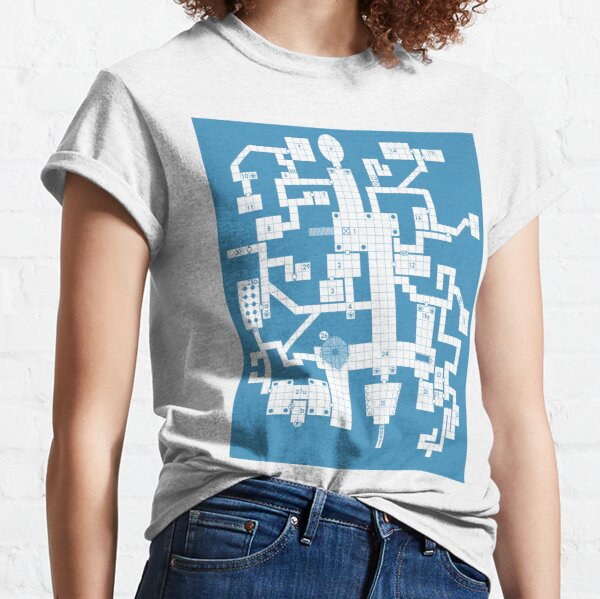 Old School Blue Dungeon Map Classic T-Shirt