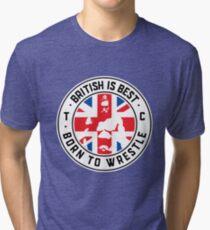 Toby Clements 'British Is Best' Flag Artwork #8 Tri-blend T-Shirt