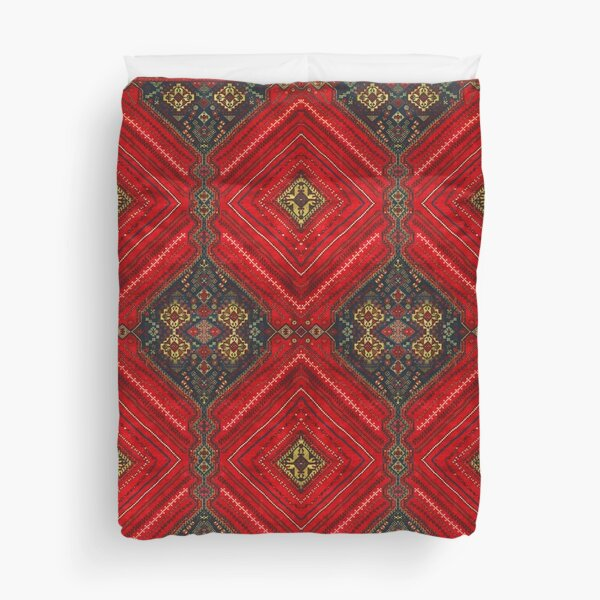 Red Oriental Berber Traditional Vintage Anthropologie Style  Duvet Cover