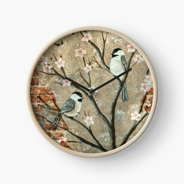 ChickaCherry Blossom Exposed Brick Clock
