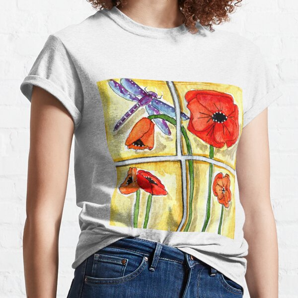 Dragonfly with Poppies - Watercolor Classic T-Shirt