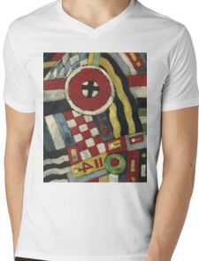 Marsden Hartley - Berlin Abstraction. Abstract painting: abstract art, geometric, expressionism, composition, lines, forms, creative fusion, spot, shape, illusion, fantasy future Mens V-Neck T-Shirt