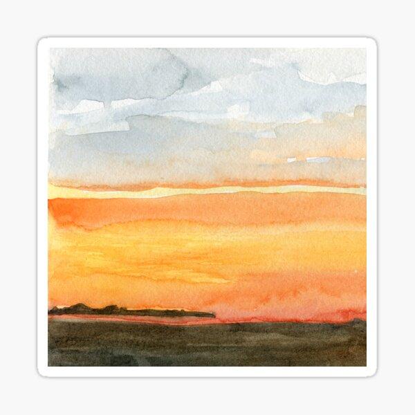 Orange Sunset - Watercolor Landscape Sticker