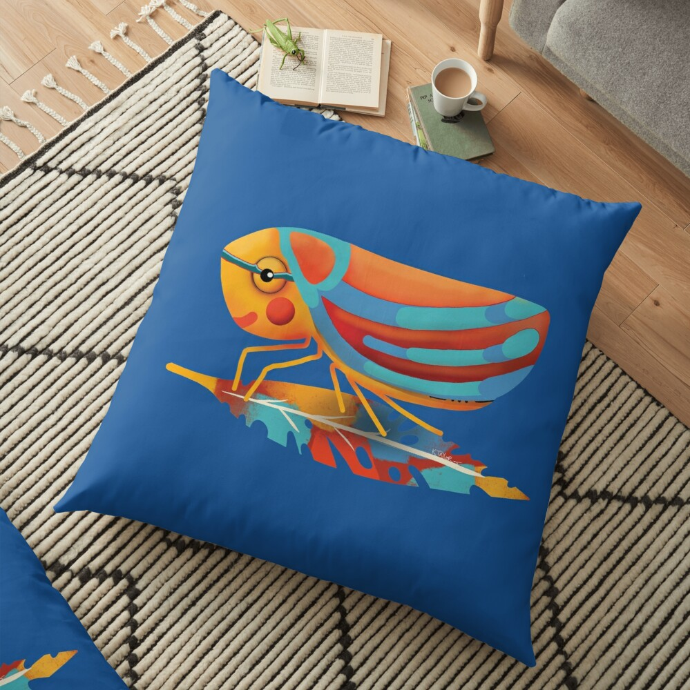 Candy-striped Leafhopper Floor Pillow