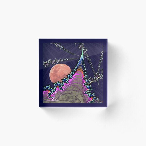 GALLIMAUFRY ~ D1G1TAL-M00DZ ~ Wormhole and Blood Moon by tasmanianartist Acrylic Block