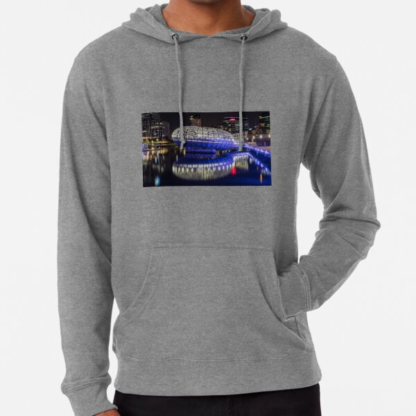 Webb Bridge by night at the Docklands, Melbourne Lightweight Hoodie