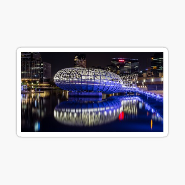 Webb Bridge by night at the Docklands, Melbourne Sticker
