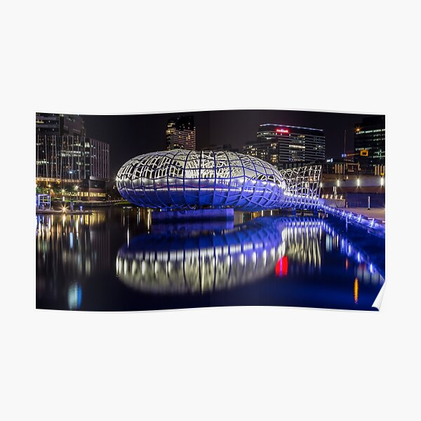Webb Bridge by night at the Docklands, Melbourne Poster