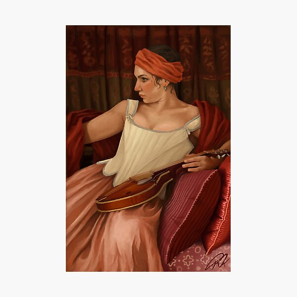 Girl with the Mandolin  Photographic Print
