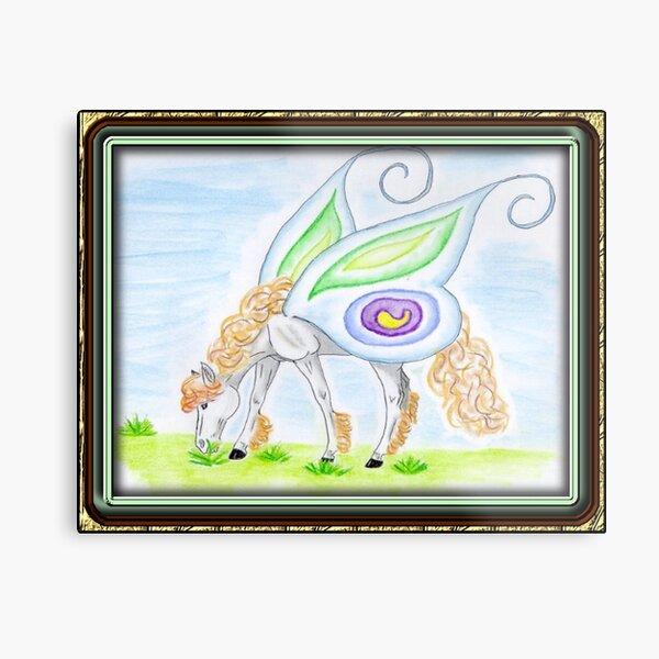 Butterfly-winged Pegasus Framed Metal Print
