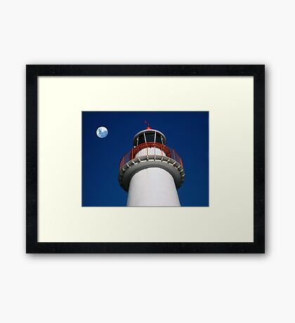 Lighthouse and the Moon Framed Print