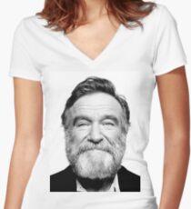 robin williams beard Women's Fitted V-Neck T-Shirt