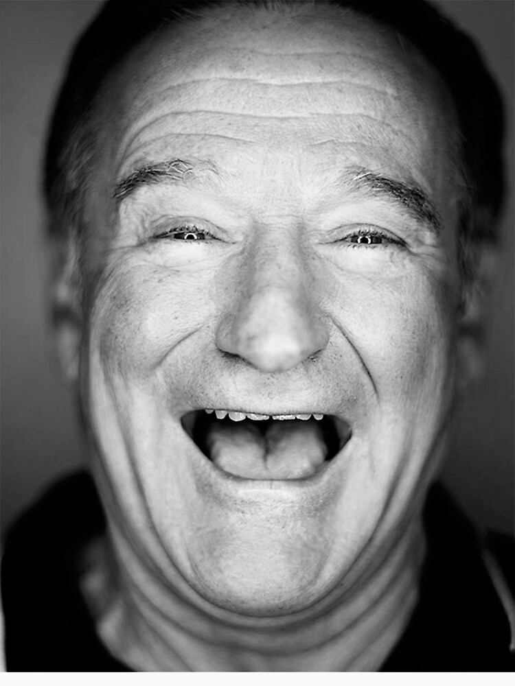 Robin williams black and laugh by redmuffinshop white
