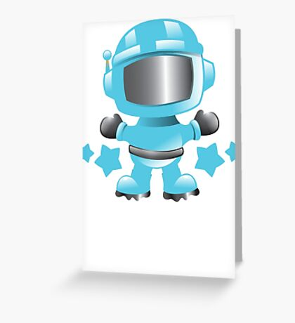 Little cute Space man in a Blue space suit Greeting Card