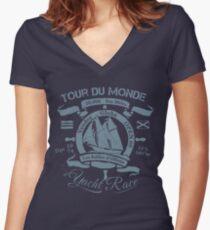 TOUR DU MONDE YACHT RACE Women's Fitted V-Neck T-Shirt