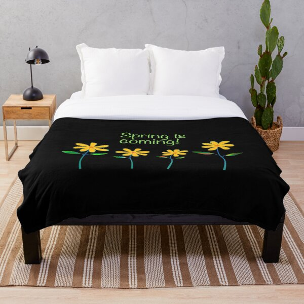 Spring is Coming with Four Daisies Throw Blanket