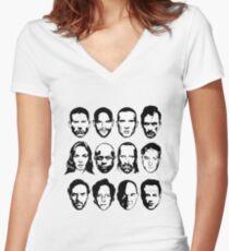 Prison Break- Michael, Sucre, Lincoln, T-bag, Sara, C-note, Abruzzi, Tweener, Haywire, Mahone, Bellick & Kellerman Women's Fitted V-Neck T-Shirt