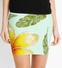 pattern with tropical flowers and banana leaves  Mini Skirt