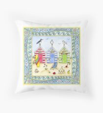 Beach Huts Seaside Holiday Throw Pillow