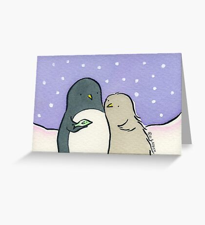 Baby Penguin loves Fish Greeting Card