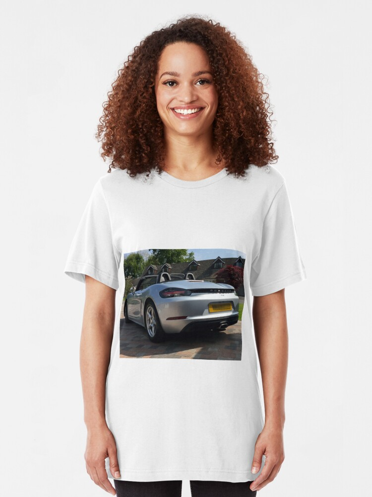 Alternate view of 718 Porsche Boxster, rear view. Slim Fit T-Shirt
