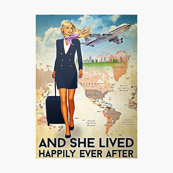 Flight Attendant And She Lived Happily Ever After Navy Uniform Poster Photographic Print