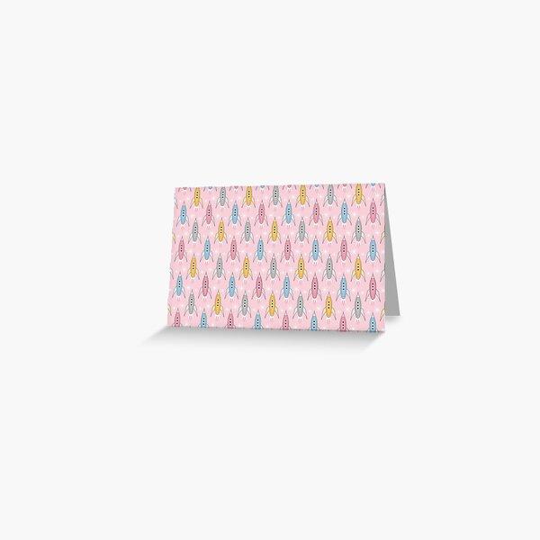 Retro Rockets Pink Greeting Card